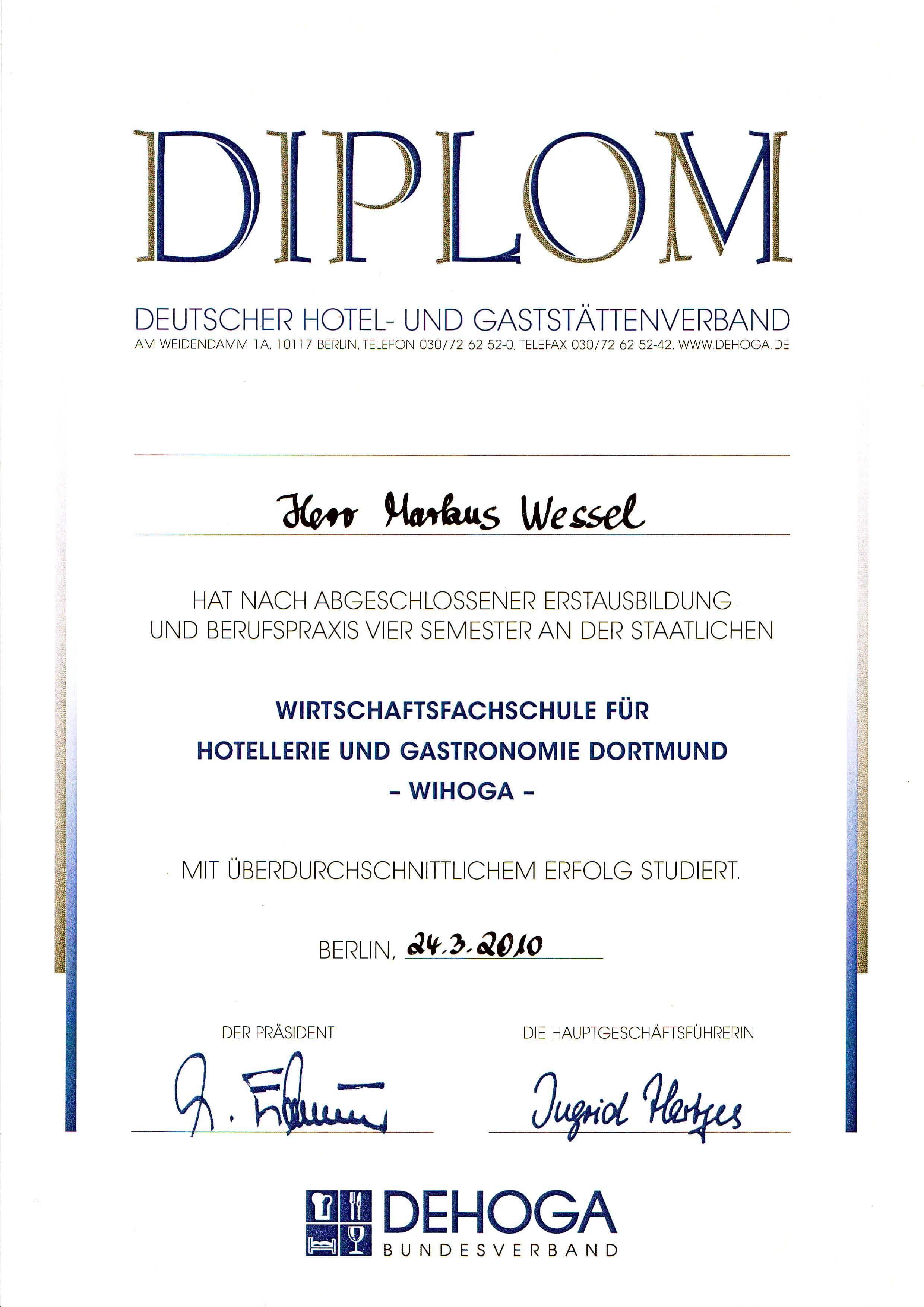 Diplom für meinen Abschluss an der Wihoga