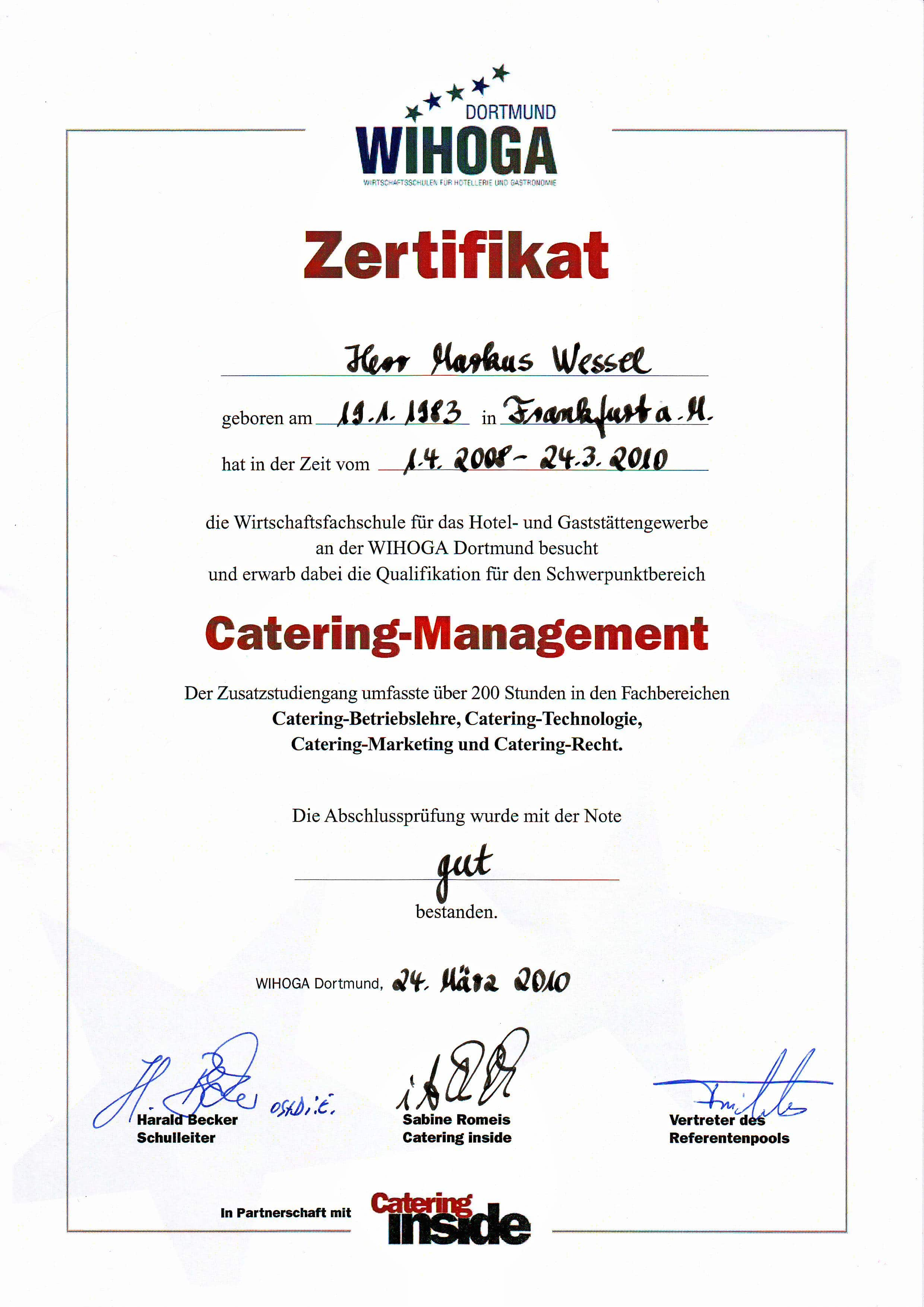 Catering Management Zertifikat